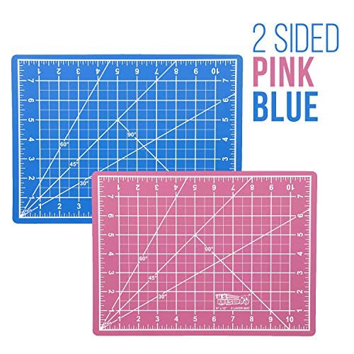 """US Art Supply 9"""" x 12"""" PINK/BLUE Professional Self Healing 5-Ply Double Sided Durable Non-Slip PVC Cutting Mat Great for Scrapbooking, Quilting, Sewing and all Arts & Crafts Projects"""