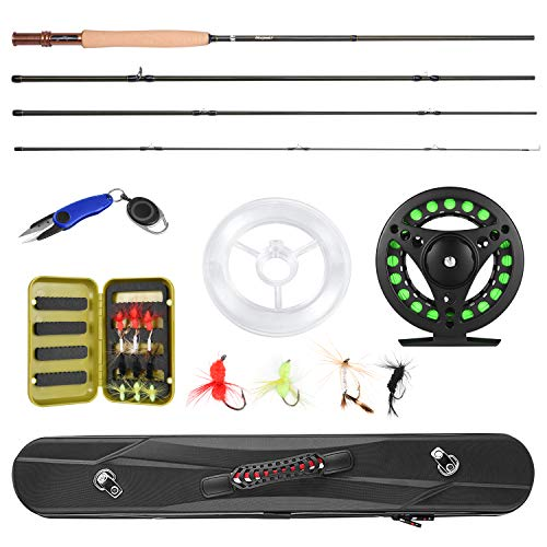 Magreel Fly Rod and Reel Combo with Portable Lightweight 4 Piece Fly Fishing Rod 9ft, Aluminum Fly Reel, 12Pcs Fly Flies and Fishing Line Scissors with a Travel Case