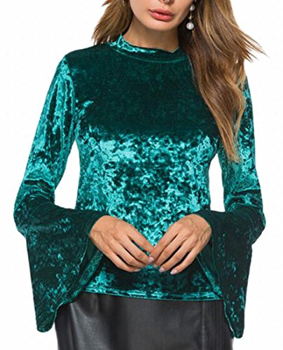 Smeiling Womens Long Bell Sleeve Stand Collar Casual Velvet T-Shirt Blouse Green L