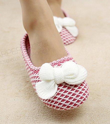 Pantofole Da Donna Cattior Arco Comode Pantofole A Maglia Rosa Da Donna