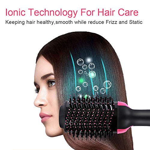 Bergwin Hot Air Brush, One Step Hair Dryer Voluminous, Hot Air Brush 3-in-1 Negative Ions Styling Hair Dryer Brush, Curler and Straightener, Styler Brush Reduce Frizz and Static For All Hair Types