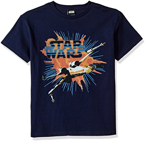 Price comparison product image Star Wars Big Boys' X-Wing Explode Logo Graphic Tee, Navy, YM
