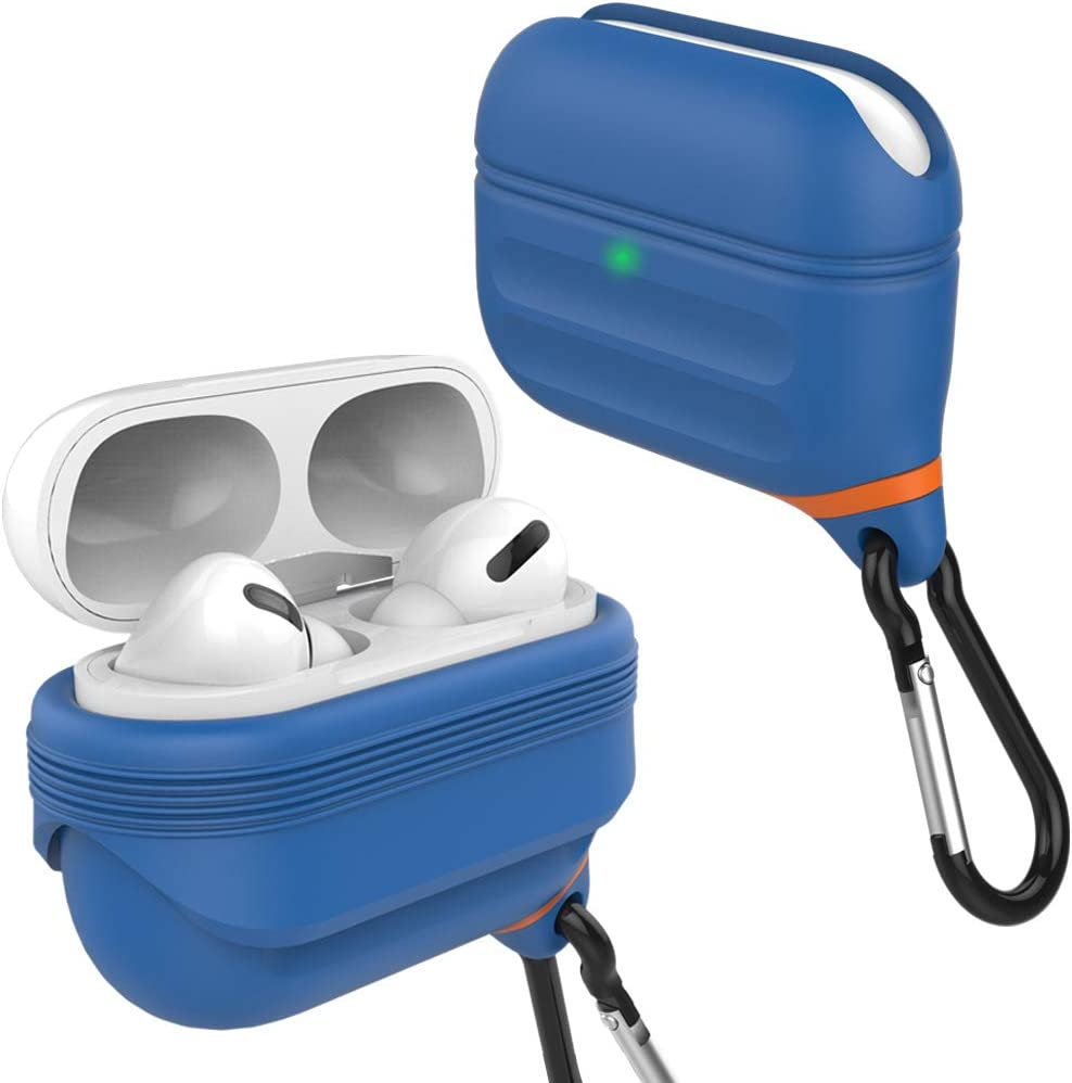 HALLEAST Airpods Pro Case Cover Waterproof, Front LED Visible Support Wireless Charging Accessories Compatible Apple Airpods Pro 2019, Blue