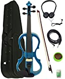 Barcelona 4/4-Size Electric Violin - Metallic Blue Bundle with Case, Bow, Rosin, Headphones, Cable, Battery