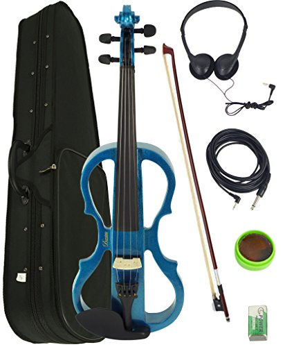 Barcelona 4/4-Size Electric Violin - Metallic Blue Bundle with Case, Bow, Rosin, Headphones, Cable, Battery by Barcelona