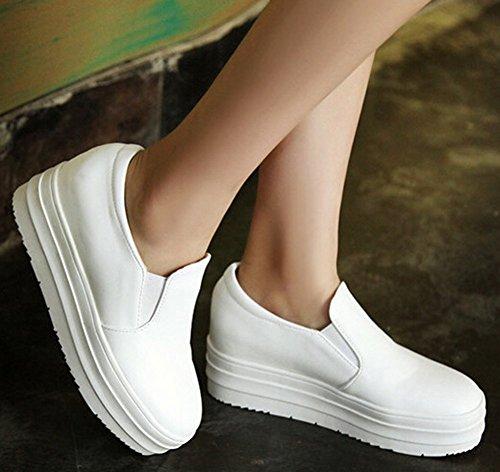 Idifu Dames Ademend Hoog Platform Slip Op Sneakers Lage Top Plateau Instappers Met Hakken In Wit