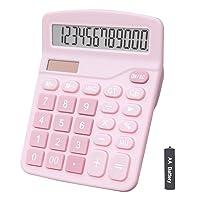 Calculators, BESTWYA 12-Digit Dual Power Handheld Desktop Calculator with Large LCD Display Big Sensitive Button (Pink, Pack of 1)