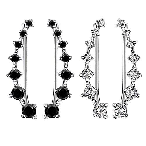 2 Pcs 7 Crystals Ear Cuffs Hoop Climber S925 Sterling Silver Earrings Hypoallergenic Earring by Elensan