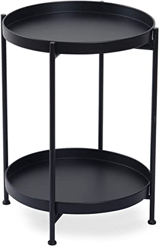 Metal Black End Table 2-Tier Round End Table Gold Folding Coffee Accent Table