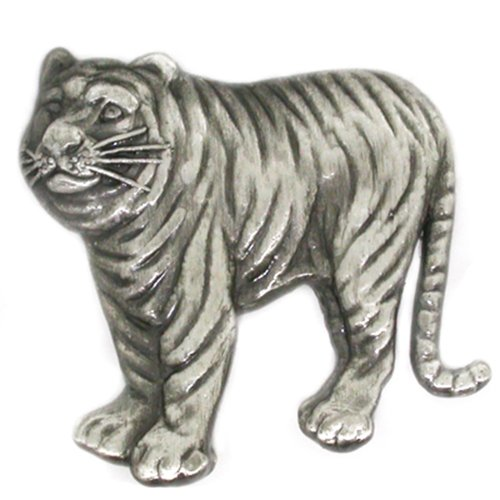 PinMart's Antique Silver Tiger Zoo Animal Lover Lapel Pin by PinMart