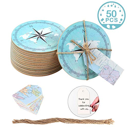 Wmbetter 50PCS Drink Coasters Compass Cork Coasters with DIY Tags, Nautical Party Favors for Baby Shower Wedding Nautical Themed Décor ()