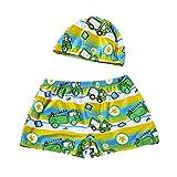 img - for Hot Sale! 2Pcs Set Swimwear, Kids Baby Boys Cartoon Print Stretch Beach Swimsuit Trunks Shorts+Swim Hat (Green, 6-8T) book / textbook / text book