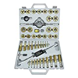 Te echo de menos 45pc Forged Tap Die SAE Heat Treated & Heavy Duty Titanium Steel Coated Set