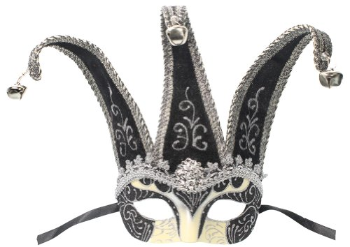 RedSkyTrader Mens Jester Mask One Size Fits Most Black And Silver