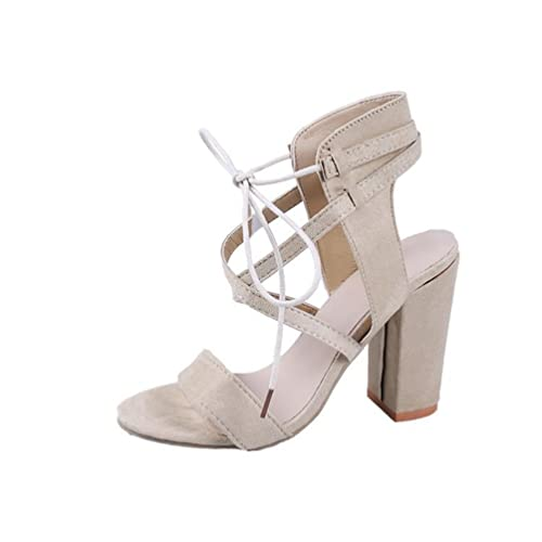 JITIAN Sandales Femmes Talons Hauts Bloc Chaussures Élégant Lacet Cheville Bout Rond Ouvert Sandale Noir 39 ZCido