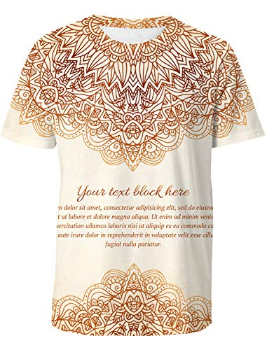 Casual 3D Printed T-Shirt Vintage Ornate Floral Pattern Invitation Polyester Short Sleeve Tops for Men XXL