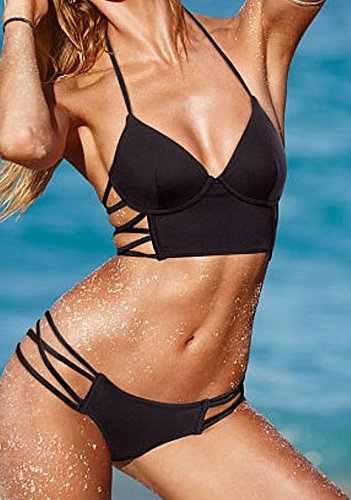 Strappy Long Line Top and Strappy Hipster Bottom Bikini Set (M)