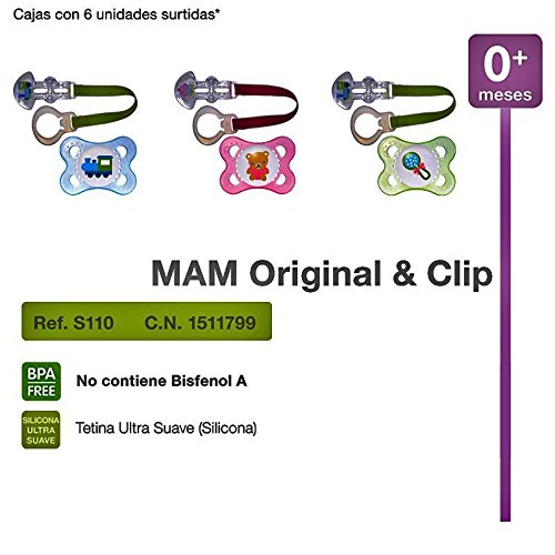 MAM - Chupete Original Silicona con Clip MAM 0m+: Amazon.es ...
