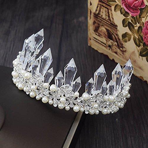 Quantity 1x bride luxury crystal _ice- crystal - Rhinestone ing Headband pearl earrings _costume_ jewelry Crown Tiara Party Wedding Headband Women Bridal Princess Birthday Girl Gift Headdress ()