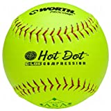 Worth Asa Hot Dot Slow Pitch Softballs Pro Comp 12 Ball Pack