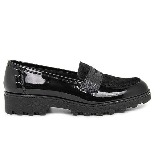 Aplauso - Mocasín - Pelo - Charol - Negro - 39: Amazon.es: Zapatos y complementos