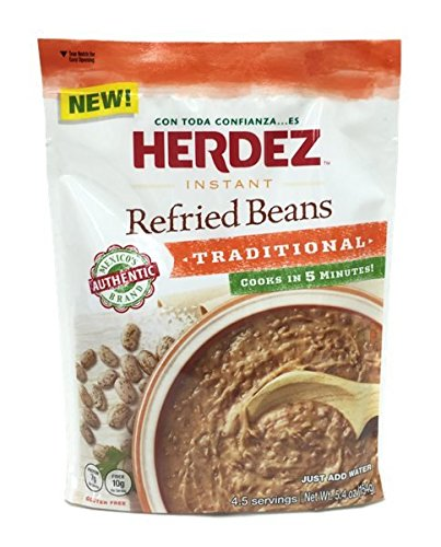 Herdez Instant Refried Beans Traditional Pouch (Pack of 3) - 5.4 oz (Instant Bean)