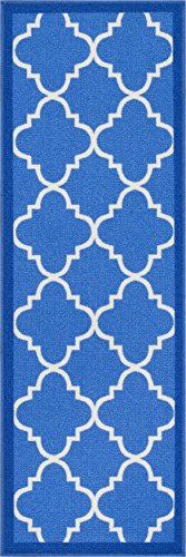 Well Woven 6516-2S Kings Court Brooklyn Trellis Modern Blue Geometric Lattice 1'8