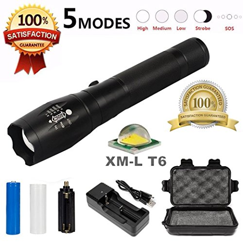 Leewa G700 5000LM Waterproof Tactical LED Military Zoomable/Rechargeable T6 Flashlight +1xUS Battery Charger +1x18650 Rechargeable Battery +1xNylon Pouch +1xBox by Leewa