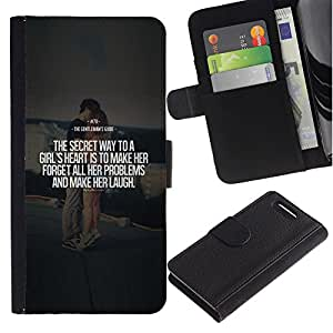 A-type (Marriage Couple Quote Love Text Heart) Colorida Impresión Funda Cuero Monedero Caja Bolsa Cubierta Caja Piel Card Slots Para Sony Sony Xperia Z1 Compact / Z1 Mini (Not Z1)