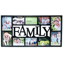 Kiera Grace Family 10 Openning Collage Frame, 14.5 by 28.5-Inch, With 4 5 by 7-Inch and 6 4 by 6-Inch, Black