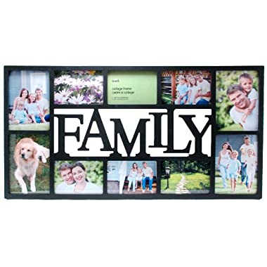 Kiera Grace Family 10 Opening Collage Frame, 14.5 by 28.5-Inch - Four 5 by 7-Inch and Six 4 by 6-Inch - (Black)