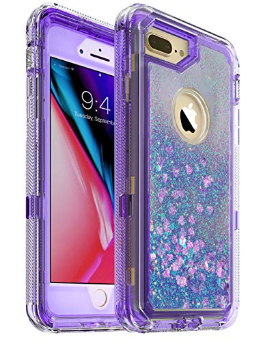 iPhone 8 Plus Case - by MXX - Glitter 3D Bling Sparkle Flowing Liquid Case Transparent 3 in 1 Shockproof TPU Silicone Core + PC Frame Case Cover for iPhone 7 Plus/iPhone 8 Plus- (Clear Violet)