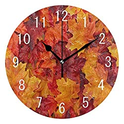 ALAZA Home Decor Red and Orange Autumn Maple Leaves Thanksgiving Day Round Acrylic 9 Inch Wall Clock Non Ticking Silent Clock Art for Living Room Kitchen Bedroom
