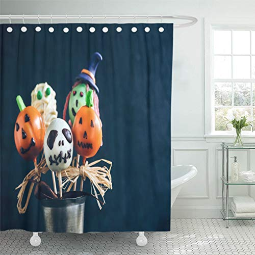 Emvency Shower Curtain 72x78 Inch Home Decor Bathroom Funny Delicious Cake Pops for Halloween On The Table Selective Focus and Blank Space Shower Hooks Set are Included for $<!--$29.90-->