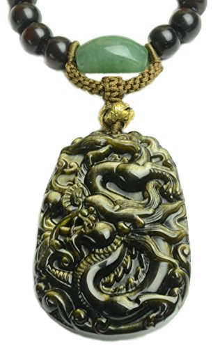 Imerial Flying Dragon Golden Obsidian Amulet Necklace-Fortune Feng Shui Jade Jewelry