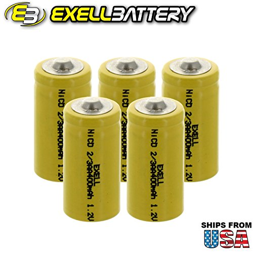 5x Exell 2/3AA 1.2V 400mAh NiCD Button Top Rechargeable Batteries for high power static applications (Telecoms, UPS and Smart grid), electric mopeds, meters, radios, RC devices, electric tools