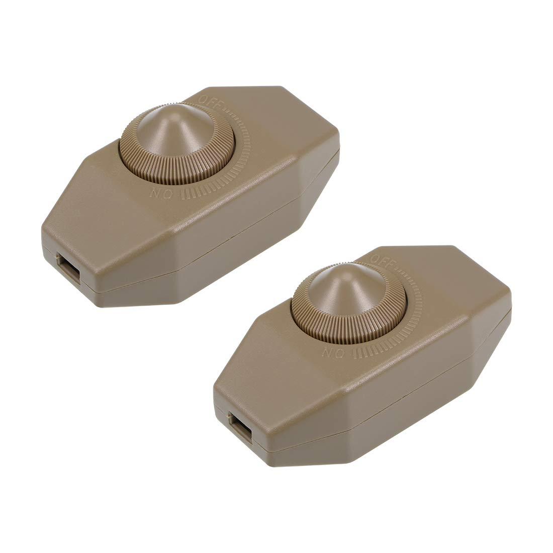 sourcing map Interruptor de cable giratorio AC 250V 2A Regulador de control deslizante de l/ámpara de 100 vatios Blanco