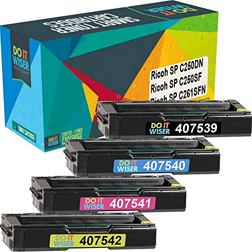 Do it Wiser Compatible Toner Cartridge Replacement for Ricoh SP C250DN SP C250SF SP C261SFN   407539 407540 407541 407542 (4 Pack)