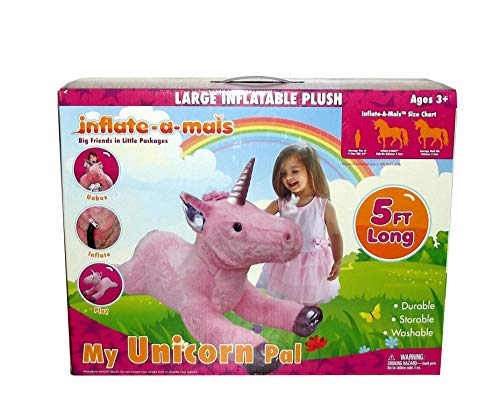 (Inflate-a-mals My Unicorn Pal Inflatable Plush Unicorn Toy, 5 feet)