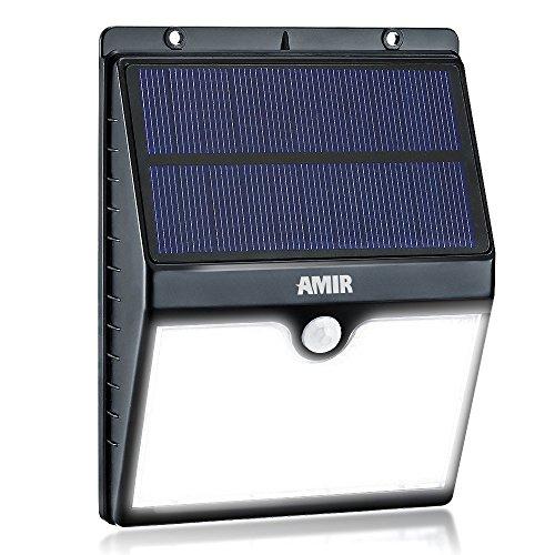 Amir Solarleuchten Garten,16 helle LED Solarlampe, Solarleuchten Drahtlose Wetterfeste Sicherheits Licht-Lampen Bewegungs-Sensor für Garten, im Freien, Zaun, Patio, Terrasse, Auffahrt, Treppen, Außenwand usw.