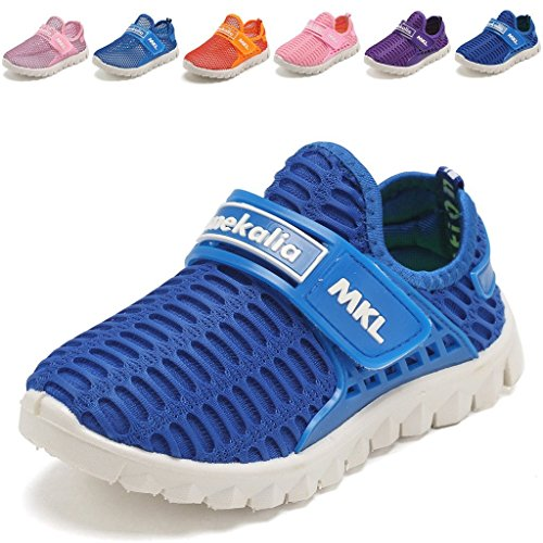 Image of the WALUCAN Boys and Girls Water Shoes Breathable Mesh Running Shoes Anti-Slip Sneakers (Little/Big Kids)-3.Blue-22