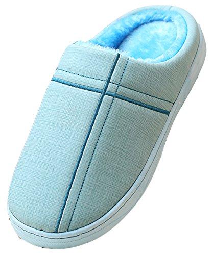 Blubi Femmes Couleur Unie En Cuir Pantoufles De Chambre À Coucher Imperméables Maison Pantoufles Bleu