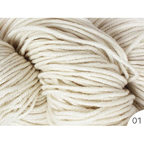 1X55g Hank 100% Mongolian Cashmere Aran Weight for Hand Knitting Thick Yarn (01-White)