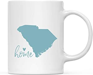 Andaz Press 11oz. US State Coffee Mug Gift, Aqua Home Heart, South Carolina, 1-Pack, Unique Hostess Distance Moving Away Christmas Birthday Gifts for Her