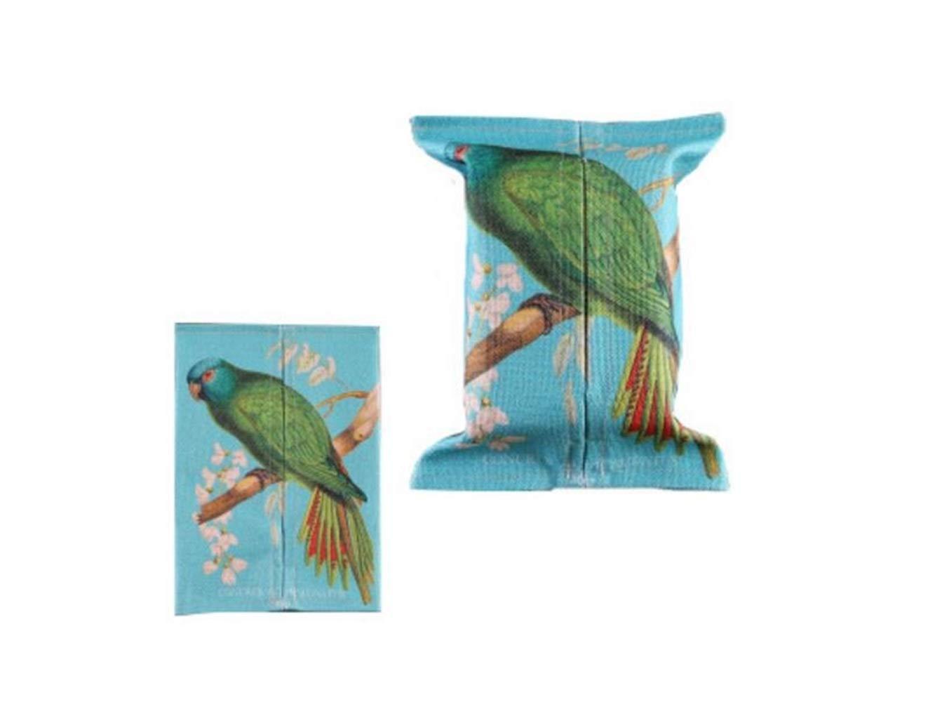 AILIN1 Tissue Box für Heimtextilien Niedliche Vogel Muster Baumwolle Leinen Tissue Box Paper Pumping Box für Home blau Utility