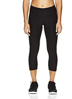 6a382097ab80c Reebok Women's Printed Capri Leggings With Mid-Rise Waist Performance  Compression Tights