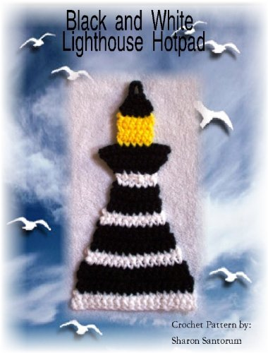 Black and White Striped Lighthouse Hot Pad Crochet Pattern