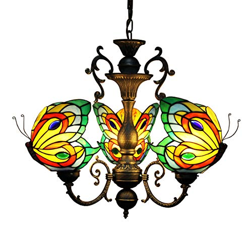Makenier Tiffany Style Stained Glass Butterfly 3 Arms Wrought Iron Chandelier