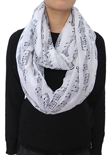 Lina & Lily Women's Musical Notes Print Infinity Loop Scarf (White)