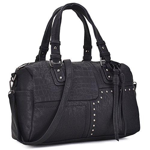 Dasein Women Soft Vegan Leather Barrel Bags Large Top Handle Totes Satchel Handbags Shoulder Purse Black